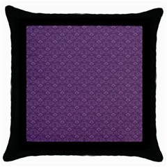 Damask In Purple Throw Pillow Case (black) by TimelessDesigns