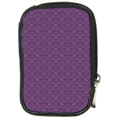 Damask In Purple Compact Camera Leather Case
