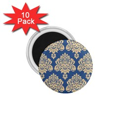 Damask Yellow On Blue 1 75  Magnets (10 Pack)  by TimelessDesigns