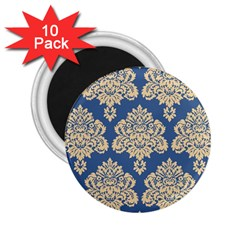 Damask Yellow On Blue 2 25  Magnets (10 Pack)  by TimelessDesigns