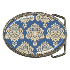 Damask Yellow On Blue Belt Buckles