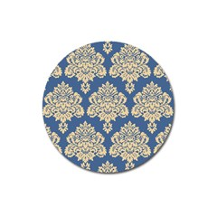 Damask Yellow On Blue Magnet 3  (round) by TimelessDesigns