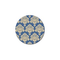Damask Yellow On Blue Golf Ball Marker by TimelessDesigns