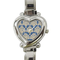 Damask Yellow On Blue Heart Italian Charm Watch by TimelessFashion