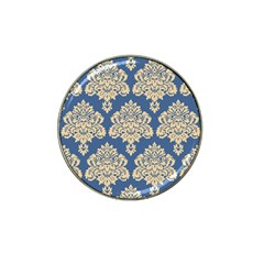 Damask Yellow On Blue Hat Clip Ball Marker by TimelessDesigns