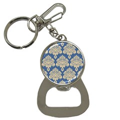 Damask Yellow On Blue Bottle Opener Key Chains
