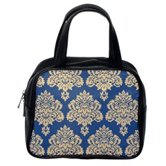 Damask Yellow On Blue Classic Handbag (one Side) by TimelessFashion