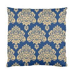 Damask Yellow On Blue Standard Cushion Case (one Side) by TimelessDesigns