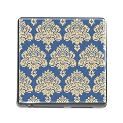 Damask Yellow On Blue Memory Card Reader (square 5 Slot)
