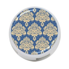 Damask Yellow On Blue 4 Port Usb Hub (one Side) by TimelessDesigns