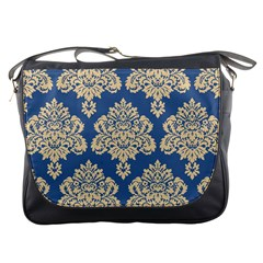 Damask Yellow On Blue Messenger Bag by TimelessFashion
