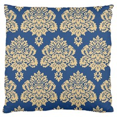 Damask Yellow On Blue Large Cushion Case (one Side) by TimelessDesigns