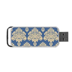 Damask Yellow On Blue Portable Usb Flash (one Side)