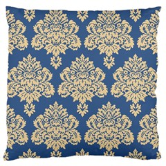 Damask Yellow On Blue Large Flano Cushion Case (one Side) by TimelessDesigns