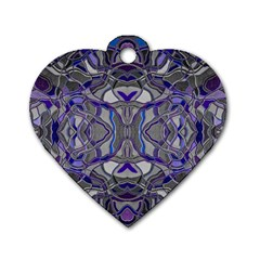 Abstract #8   Iii   Blue Pop 6000 Dog Tag Heart (two Sides)