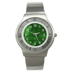 Fabric In Green Stainless Steel Watch