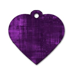Fabric In Purple Dog Tag Heart (two Sides)