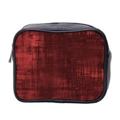 Fabric In Red Mini Toiletries Bag (two Sides)