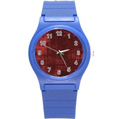 Fabric In Red Round Plastic Sport Watch (s) by TimelessFashion