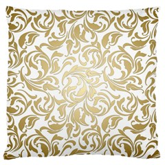 Floral Design In Gold  Large Cushion Case (one Side)