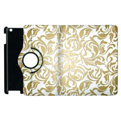 Floral Design In Gold  Apple Ipad 2 Flip 360 Case