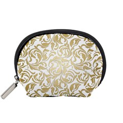 Floral Design In Gold  Accessory Pouch (small)