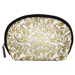 Floral Design In Gold  Accessory Pouch (large)