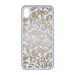 Floral Design In Gold  Apple Iphone Xr Seamless Case (white)