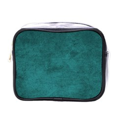 Fluffy Turquoise Mini Toiletries Bag (one Side)