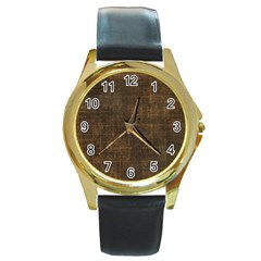Leather Brown Round Gold Metal Watch