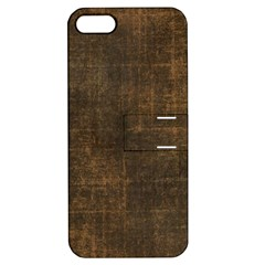 Leather Brown Apple Iphone 5 Hardshell Case With Stand by TimelessDesigns