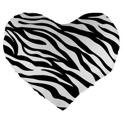 Zebra Prin Large 19  Premium Heart Shape Cushions