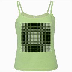Polka Dot Black  Green Spaghetti Tank