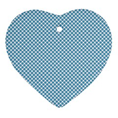 Polka Dot Blue  Heart Ornament (two Sides) by TimelessDesigns