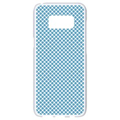 Polka Dot Blue  Samsung Galaxy S8 White Seamless Case by FEMCreations