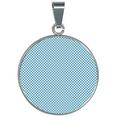 Polka Dot Blue  30mm Round Necklace by TimelessFashion