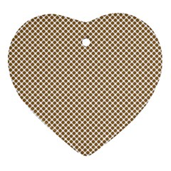 Polka Dot Brown Heart Ornament (two Sides)