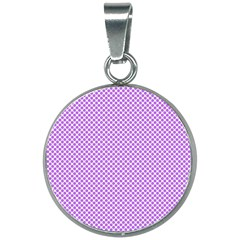 Polka Dot Purple 20mm Round Necklace by TimelessFashion