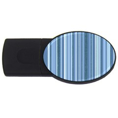 Stripes In Blue Usb Flash Drive Oval (2 Gb)