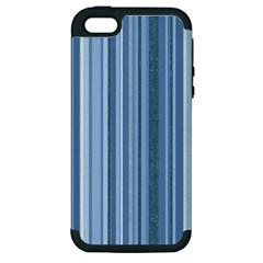 Stripes In Blue Apple Iphone 5 Hardshell Case (pc+silicone)