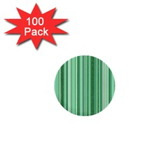 Stripes In Green 1  Mini Buttons (100 Pack)