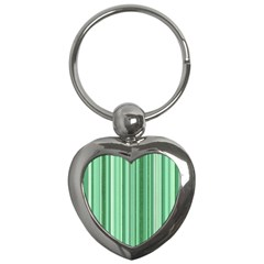 Stripes In Green Key Chains (heart)