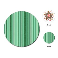 Stripes In Green Playing Cards (round)