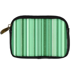 Stripes In Green Digital Camera Leather Case