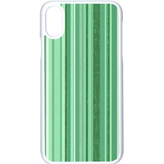 Stripes In Green Apple Iphone X Seamless Case (white)