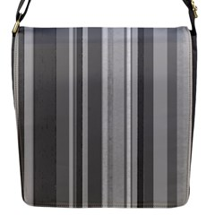 Stripes In Grey Flap Closure Messenger Bag (s)