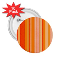 Stripes In Orange 2 25  Buttons (10 Pack)