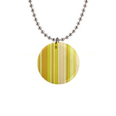 Stripes In Yellow 1  Button Necklace by TimelessFashion