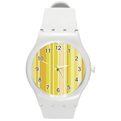 Stripes In Yellow Round Plastic Sport Watch (m)