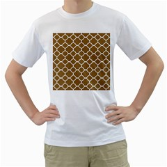 Vintage Tile Brown  Men s T Shirt (white) (two Sided) by TimelessFashion